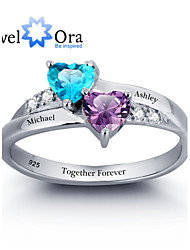 cheap -Personalized Double Heart Ring 925 Sterling Silver Classic Cubic Zirconia Ring For Women