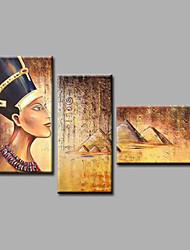 Ručně malované Abstraktní / Lidé / Akt / Abstraktní portrétModerní Tři panely Plátno Hang-malované olejomalba For Home dekorace