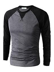 Tee-Shirt Pour des hommes A Motifs Décontracté / Travail Manches longues Coton / Polyester Noir / Bleu / Rouge / Gris