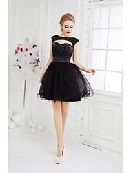 cheap -Ball Gown Scoop Neck Short / Mini Tulle Little Black Dress Cocktail Party Dress with Beading by TS Couture®