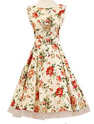 baratos -Mulheres Vintage Evasê Vestido - Com Transparência Estampado Acima do Joelho