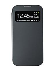 Недорогие -Для Кейс для  Samsung Galaxy с окошком / С функцией автовывода из режима сна / Флип Кейс для Чехол Кейс для Один цвет Искусственная кожа