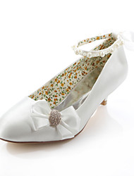 Women's Spring Summer Fall Silk Wedding Dress Party & Evening Low Heel Crystal Ribbon Tie Ivory