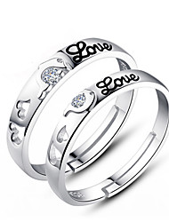 cheap -Couple's Couple Rings - Sterling Silver Fashion Adjustable For Wedding / Party / Daily / Zircon
