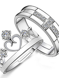 cheap -Couple's Couple Rings - Sterling Silver Fashion Adjustable Silver For Wedding / Party / Daily / 2pcs / Zircon