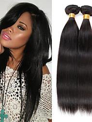 cheap -3 Bundles 150g Peruvian Hair 100% Unprocessed Straight Soft Human Hair Natural Black Color Hair Weaves 8-26 inch Human Hair Weaves Natural Black Human Hair Extensions Women's