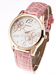 cheap -new fashion womage 2015 classic flower pattern gold case brand leather women ladies casual wrist dress watch Cool Watches Unique Watches