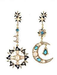 cheap -Women's Mismatch Moon Cubic Zirconia Drop Earrings - Mismatch Blue Earrings For