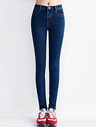 Women's Solid Blue / Black Cotton Long Demin Jeans , Bodycon / Casual
