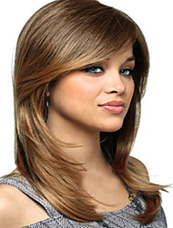 cheap -Women Capless Fashion Long Straight Mixed Honey Blonde Synthetic Wigs with Side Bang