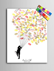 E-HOME® Personalized Fingerprint Painting Canvas Prints - New People Under The Balloon (Includes 12 Ink FColors)