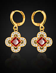 cheap -Women's Flower Synthetic Ruby Crystal Drop Earrings - Birthstones Gold Four Leaf Clover Earrings For Wedding Party Daily