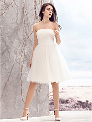 cheap -A-Line Strapless Knee Length Tulle Custom Wedding Dresses with Ruched by LAN TING BRIDE®