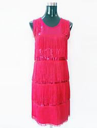 abordables -Danse latine Robes Femme Utilisation Polyester Pailleté Paillette Gland Robe