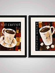 cheap -Framed Art Print Framed Canvas Framed Set Abstract Still Life Food & Beverage Holiday Leisure Wall Art, PVC Material With Frame Home