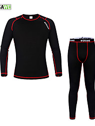 cheap -WOSAWE Long Sleeves Cycling Base Layer - Black/Red Bike Tights Jersey Clothing Suits, Thermal / Warm