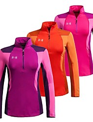 cheap -Women's Hiking T-shirt Thermal / Warm Quick Dry Windproof Fleece Lining Front Zipper Anti-Eradiation Breathable Sweat-wicking Waterproof