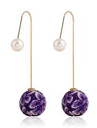 baratos -Mulheres Cristal Pérola Imitação de Pérola Strass Brincos Compridos - Fashion Europeu Verde Azul Khaki Brincos Para