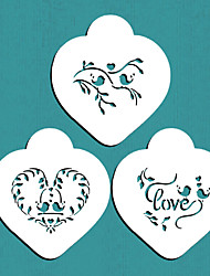 Love Birds Heart Cookie Stencil Set, Cookie Stencil,Stencil for cake decorating,Free shipping stencil ST-678