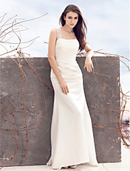 cheap -Sheath / Column Square Neck Sweep / Brush Train Satin Custom Wedding Dresses with Appliques Ruched by LAN TING BRIDE®