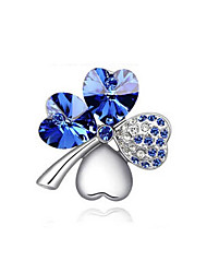 High Quality New Fashion Gold/Silver Plated Austrian Crystal Elegant Four Leaf Heart Clover Brooches Pins Jewelry