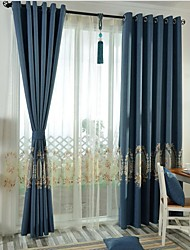 Rod Pocket Grommet Top Tab Top Double Pleat Pencil Pleat Two Panels Curtain Neoclassical , Embroidery Bedroom Linen/Polyester Blend