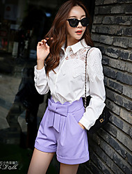 cheap -Pink Doll®Women's Patchwork White Shirt , Shirt Collar Long Sleeve Blouse