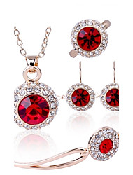 cheap -Women's Crystal Jewelry Set - Crystal Include Green / Blue / Pink For Wedding Party Daily / Rings / Earrings / Necklace / Bracelets & Bangles