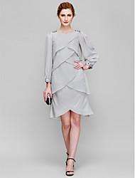 abordables -Fourreau / Colonne Encolure dégagée Mi-long Mousseline de soie Robe de Mère de Mariée  avec Billes par LAN TING BRIDE®