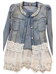 cheap -Women's Cotton Denim Jacket-Solid Colored,Patchwork / Lace / Spring / Fall