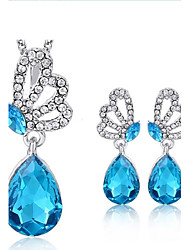 cheap -Women's Crystal Jewelry Set - Crystal Include Red / Green / Blue For Wedding Party Daily / 2pcs / Earrings / Necklace