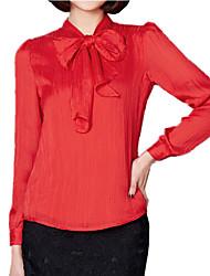 cheap -Spring Women's Folds Chiffon Bow Frenum Long Sleeve Temperament Slim OL Shirt Party Blouse Tops