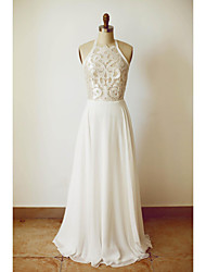 cheap -A-line Wedding Dress Floor-length Halter Chiffon with Lace