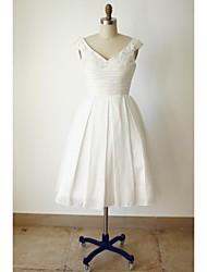 economico -Linea-A A V Lunghezza tè Raso Vestito da sposa con Perline Bottoni Con ruche di