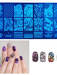 1pcs neue schwarze Blumenspitze Nagelprägeplatten Edelstahl Nagelkunst Stempel Vorlage Maniküre Nagel Werkzeuge