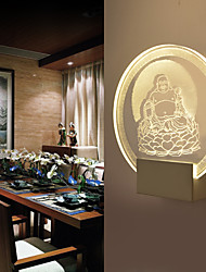 cheap -3D Chinese Culture Theme Design Maitreya Buddha (a God) Sitting on a Lotus Wall Lamp 5W Art Lighting Round Shape Sconce