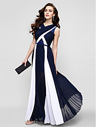 cheap -Sheath / Column V Neck Floor Length Chiffon / Lace Color Block Prom / Formal Evening Dress with Lace / Criss Cross by TS Couture®