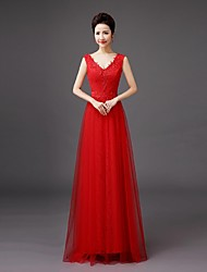 cheap -Bridesmaid Dress Floor-length Lace - Sheath / Column V-neck with Embroidery by QQC Bridal