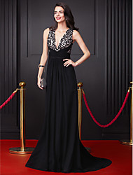 cheap -A-Line Plunging Neckline Court Train Georgette Prom Formal Evening Dress with Sequin Criss Cross by TS Couture®