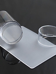 preiswerte -transparente Stempel Nagelkunst klar Gelee Stempel Schaber Stempellack Maniküre-Werkzeugsatz