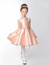 cheap -A-Line Short / Mini Flower Girl Dress - Satin Sleeveless V-neck with Bow(s) Sash / Ribbon by LAN TING BRIDE®