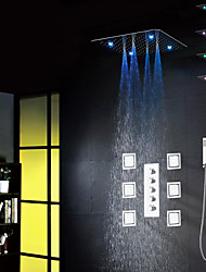cheap -Bathroom Bath Shower Faucet Set, 20 Inch 7 Colors 100V~240V AC LED Shower Head And 6 Pcs Big Spa Body Massage Spray