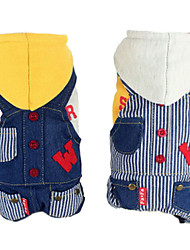cheap -Dog Hoodie Jumpsuit Denim Jacket/Jeans Jacket Dog Clothes Stripe Jeans White Yellow Cotton Down Costume For Pets Men's Women's Fashion