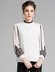 Women's Embroidery/Flare Sleeve Casual/Daily Street chic Spring Blouse,Striped/Patchwork Stand Long Sleeve White Polyester Medium