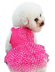 Недорогие -Собака Платья Одежда для собак Горошек Бант Красный Синий Розовый Хлопок Костюм Назначение Весна & осень Лето Жен. Мода