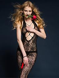 Недорогие -Жен. Белье с поясом для чулок Ультра-секси Комбинация Ночное белье Однотонный Нейлон Черный