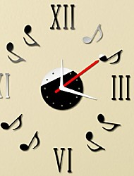cheap -New Qualified Note Music Notation DIY Self Adhesive Interior Wall Creative Decoration Clock