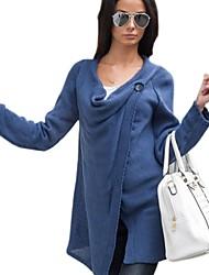 cheap -Women's Solid Blue / Beige / Black / Gray Wrap , Cowl Long Sleeve