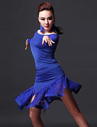 Latein-Tanz Austattungen Damen Vorstellung Elastan Spitzen Spitze 2 Stück Top Rock