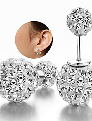 cheap -Women's Cubic Zirconia Beads Stud Earrings - Sterling Silver, Zircon, Silver White For Wedding / Party / Daily